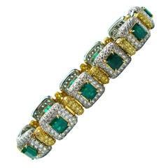 Green Emerald Diamond Gold Platinum Link Bracelet