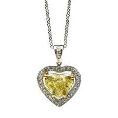 1.74 Carat GIA Certified Fancy Yellow Diamond Gold Heart Pendant