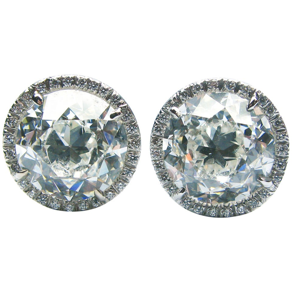 4.40 Carat and 4.58 Carat GIA Old European Diamond Framed Earrings