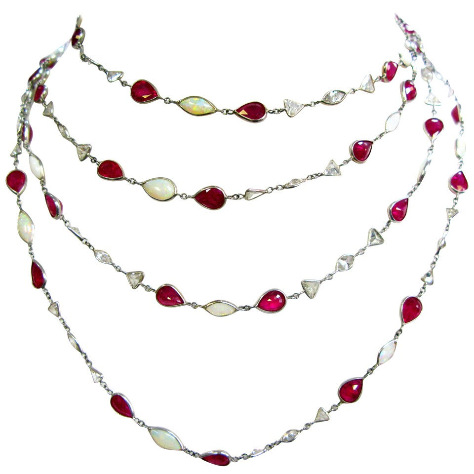Ruby Opal Diamond Platinum Bezel Necklace For Sale