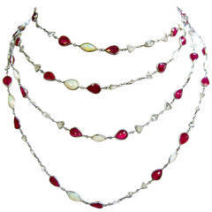 Ruby Opal Diamond Platinum Bezel Necklace