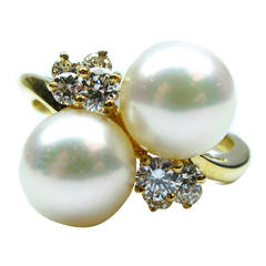 Kurt Wayne Pearl and Diamond Twin Ring