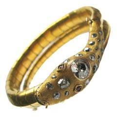 Ruby Diamond Gold Snake Cuff Bracelet