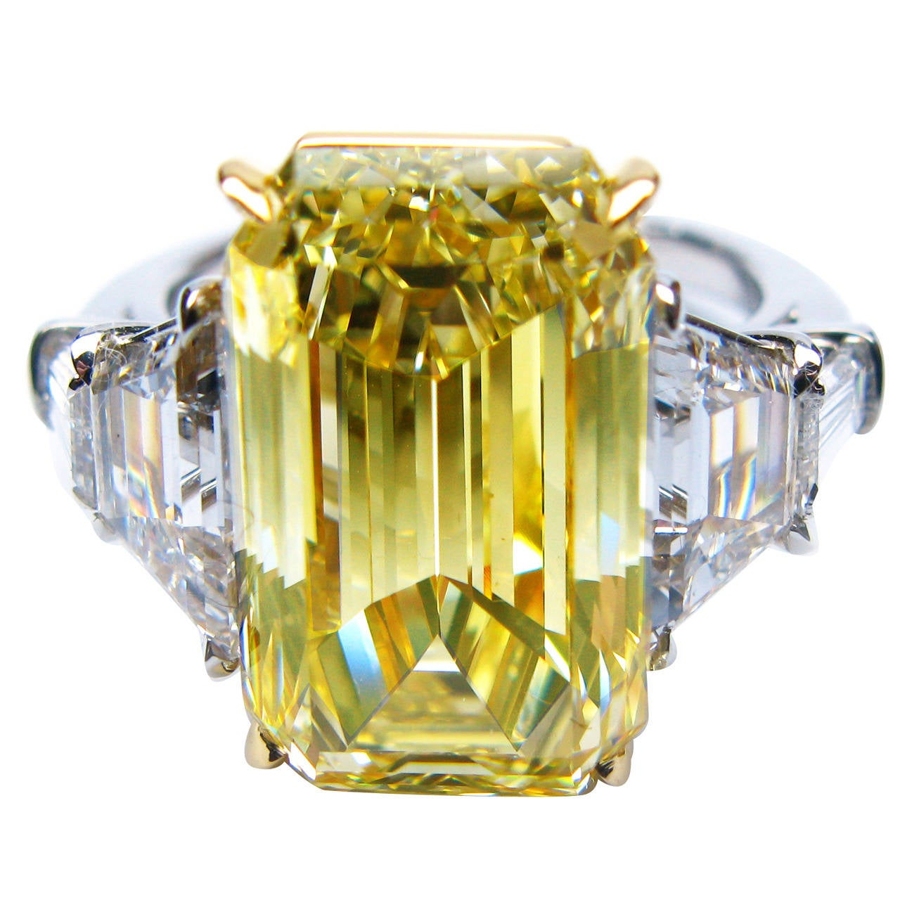 825 Carat Fancy Yellow Emerald Cut Diamond Gold Platinum Engagement Ring 1
