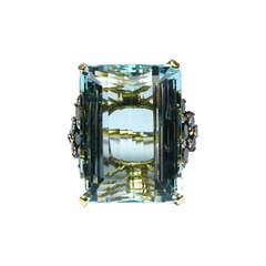Aquamarine, Diamond and Sapphire Cocktail Ring