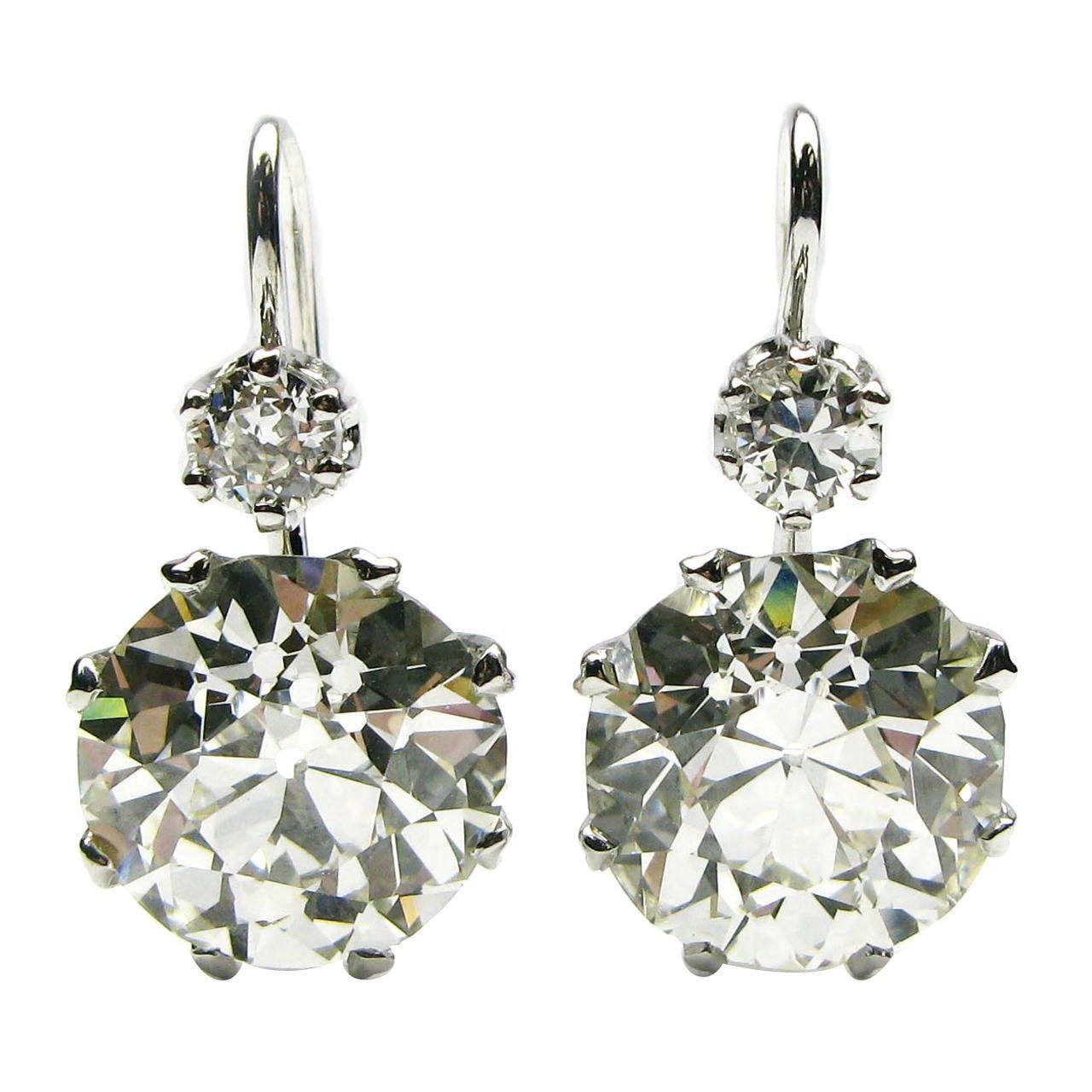 GIA Cert Old Euro Diamond Platinum Drop Earrings each drop weighs over 6.5 carat
