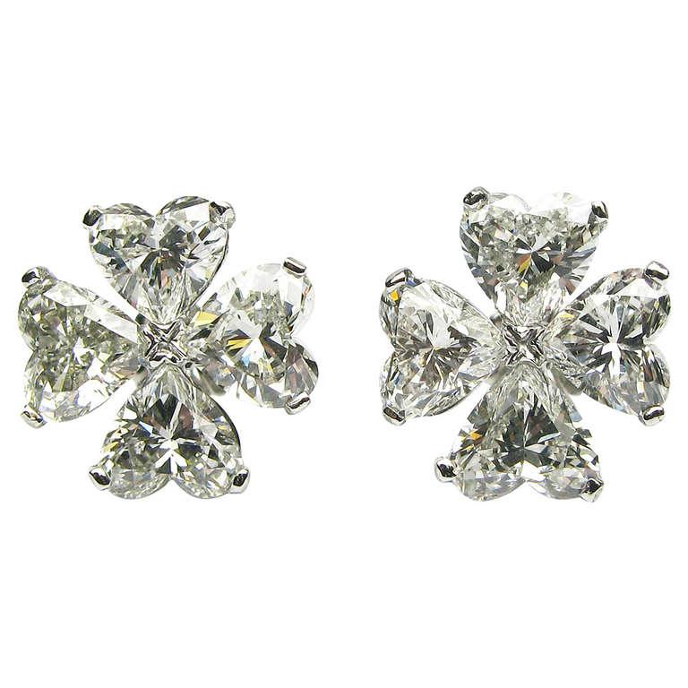 6.10ctw Heart Shaped Cluster Diamond Earrings For Sale