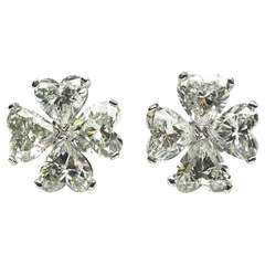 6.10ctw Heart Shaped Cluster Diamond Earrings