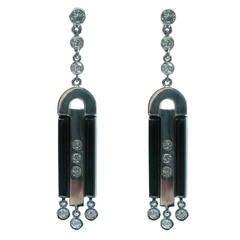 Round Brilliant Diamond & Onyx Dangle Earrings