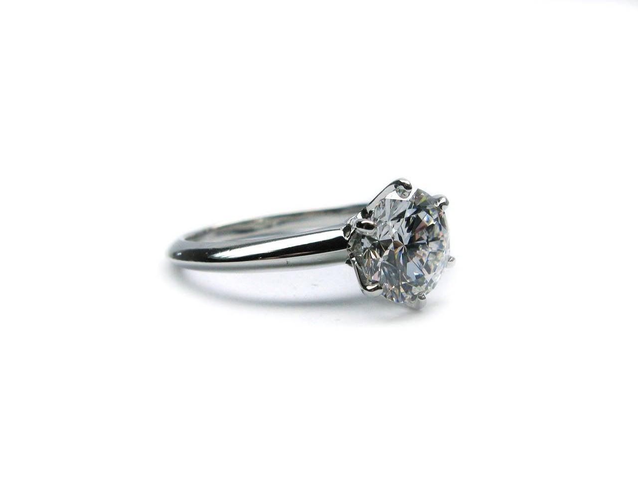 Tiffany and Co 2 03 Carat Round Brilliant Diamond Platinum Engagement Ring a