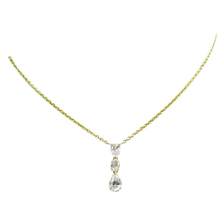 1.85 Carat Total Weight Pear Shaped and Oval Diamond Pendant