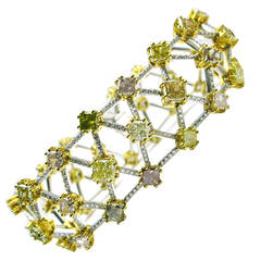 Natural Fancy Diamond Pave Gold Platinum Trellis Pattern Bracelet