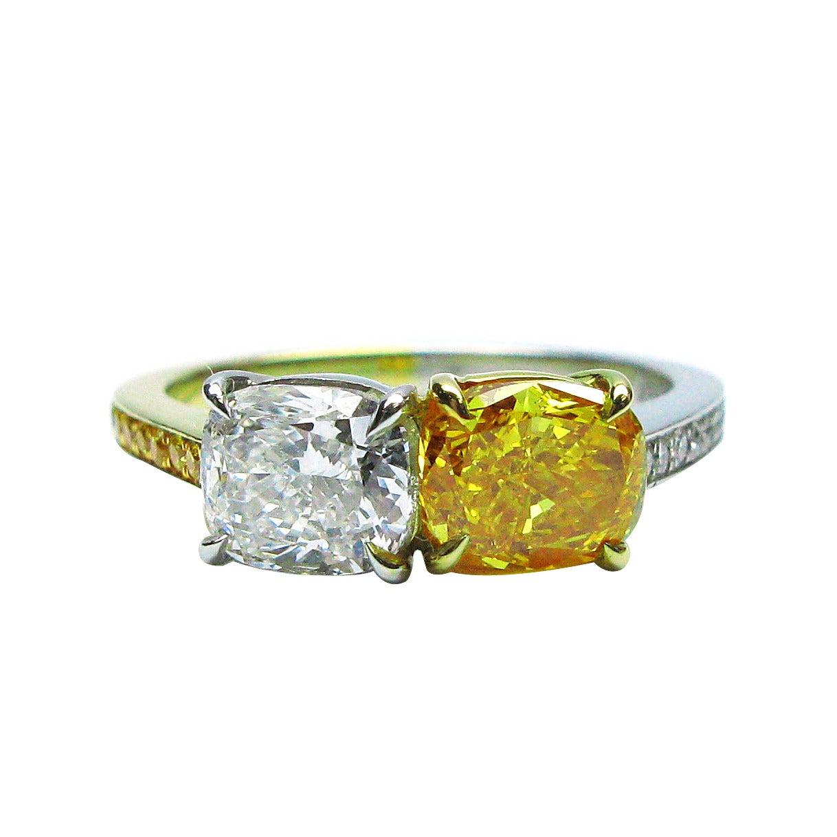 GIA Certified Vivid Orange and White Diamond Oval Twin Ring