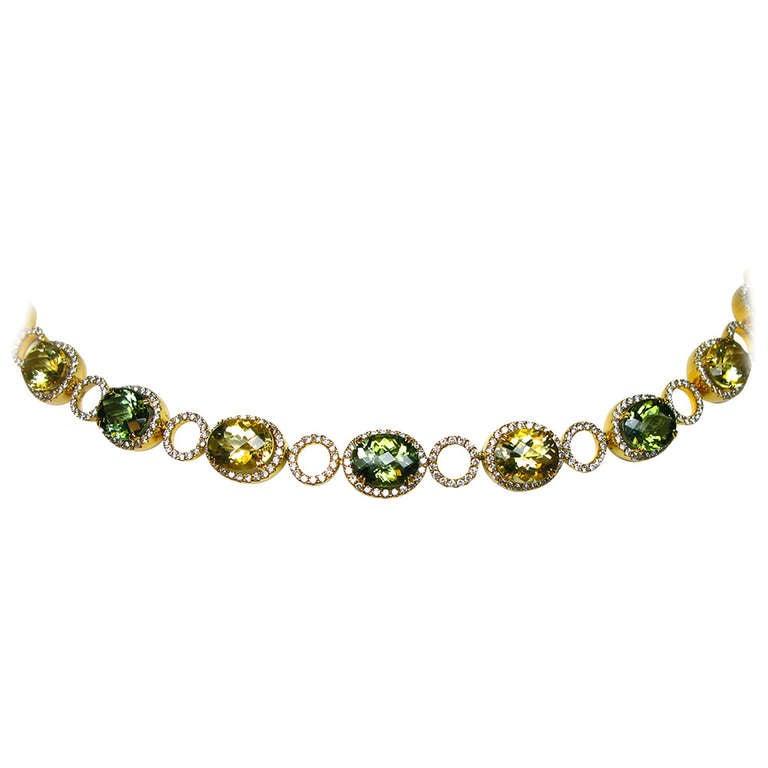 Lemon Quartz, Green Tourmaline, and Diamond Necklace For Sale