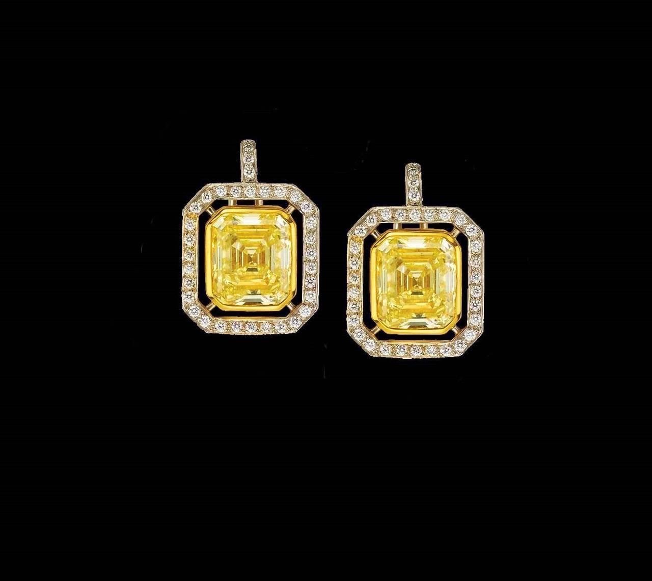 6.70 Carat GIA Cert Fancy Yellow Emerald cut  Diamond Frame Earrings For Sale 1