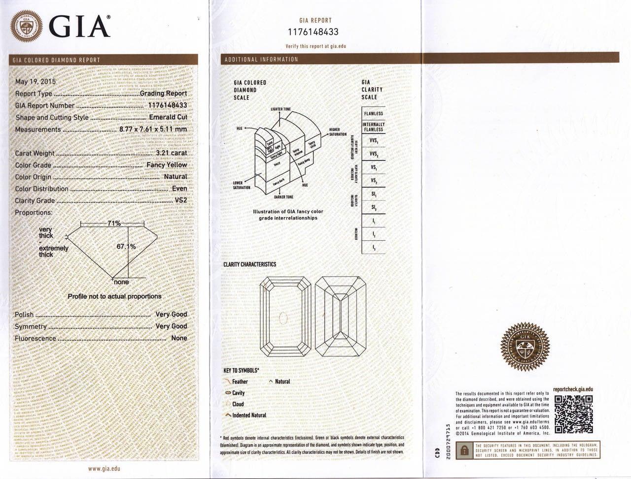 6.70 Carat GIA Cert Fancy Yellow Emerald cut  Diamond Frame Earrings For Sale 4