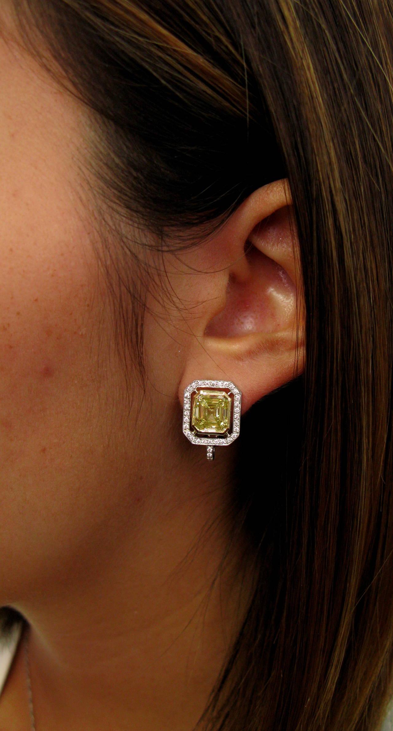6.70 Carat GIA Cert Fancy Yellow Emerald cut  Diamond Frame Earrings For Sale 2