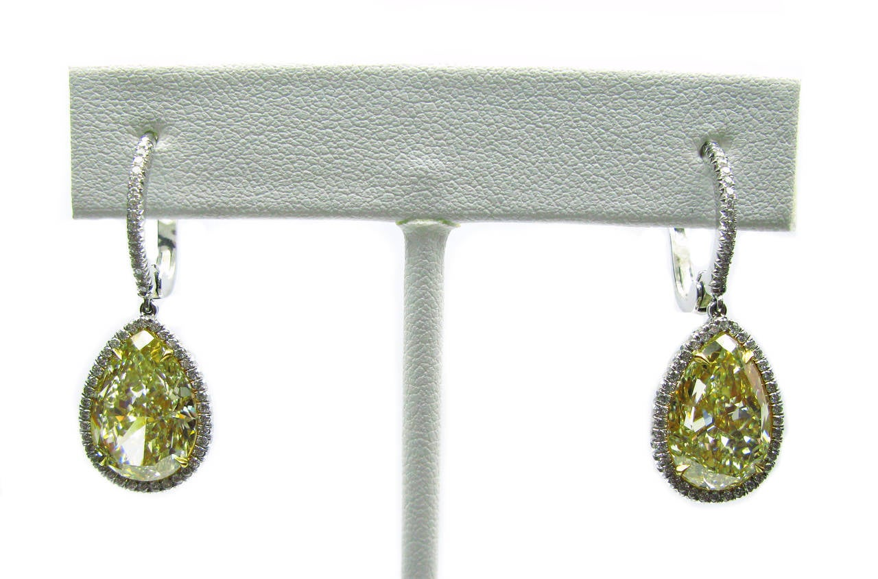 12.75 Carat GIA Cert Fancy Yellow Pear Diamond Leverback Earrings 5