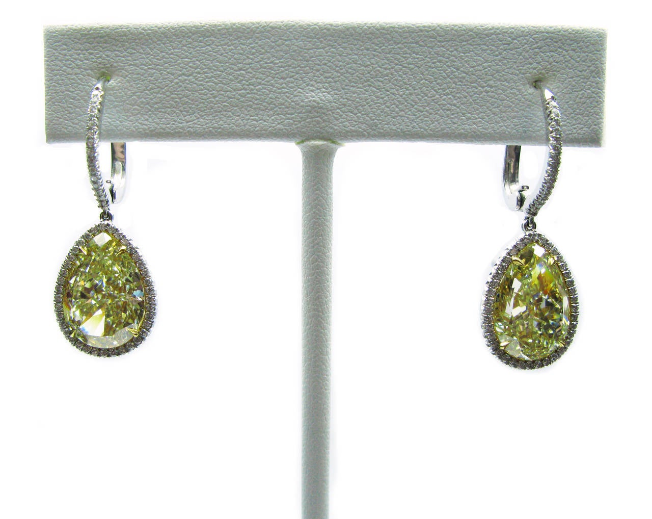 12.75 Carat GIA Cert Fancy Yellow Pear Diamond Leverback Earrings 6