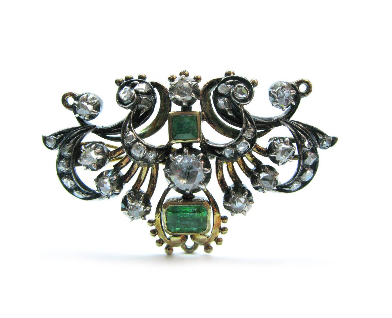 Georgian Emerald and Diamond Convertible Necklace For Sale at 1stdibs