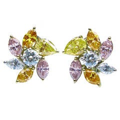 Natural Fancy color Diamond Pinwheel Ear Clips