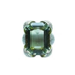 Prasiolite & Diamond Cocktail Ring