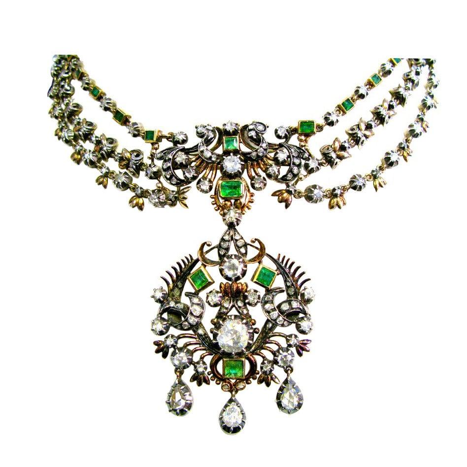 Georgian Emerald & Diamond Convertible Necklace