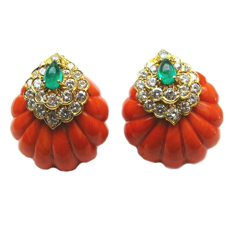 David Webb Coral Emerald Diamond Earrings 1