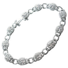 Cushion Diamond Pave Platinum Link Bracelet