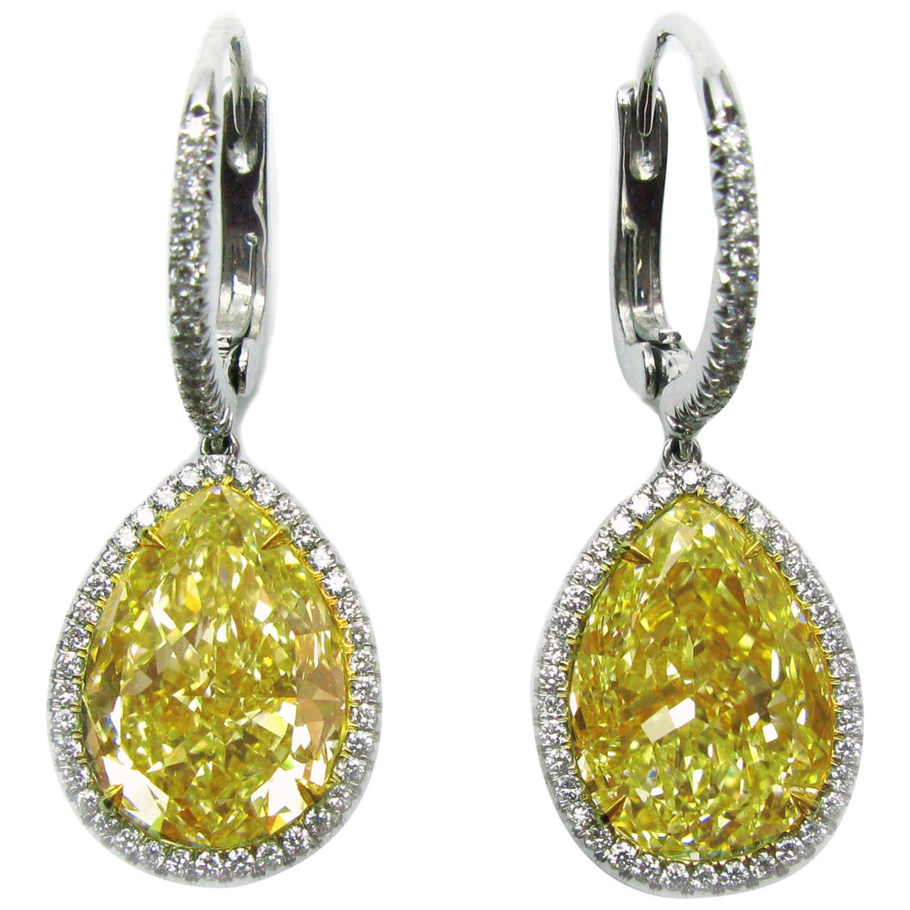 12.75 Carat GIA Cert Fancy Yellow Pear Diamond Leverback Earrings 1
