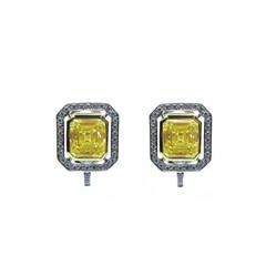 6.70 Carat GIA Cert Fancy Yellow Emerald cut  Diamond Frame Earrings