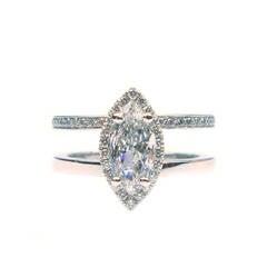 1.15 Carat Total Marquise Diamond Frame Ring