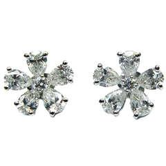 Flower Design Diamond Earrings