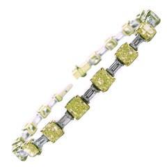 Fancy Radiant Diamond Gold Baguette Bracelet