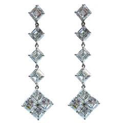 GIA D-F color Cert Asscher Cut Diamond Platinum Dangle Earrings