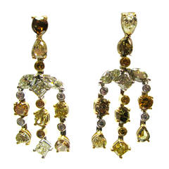 Mixed Cut Natural Fancy Color Diamond Gold Chandelier Earrings