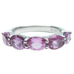 Pink Sapphire Platinum Band Ring