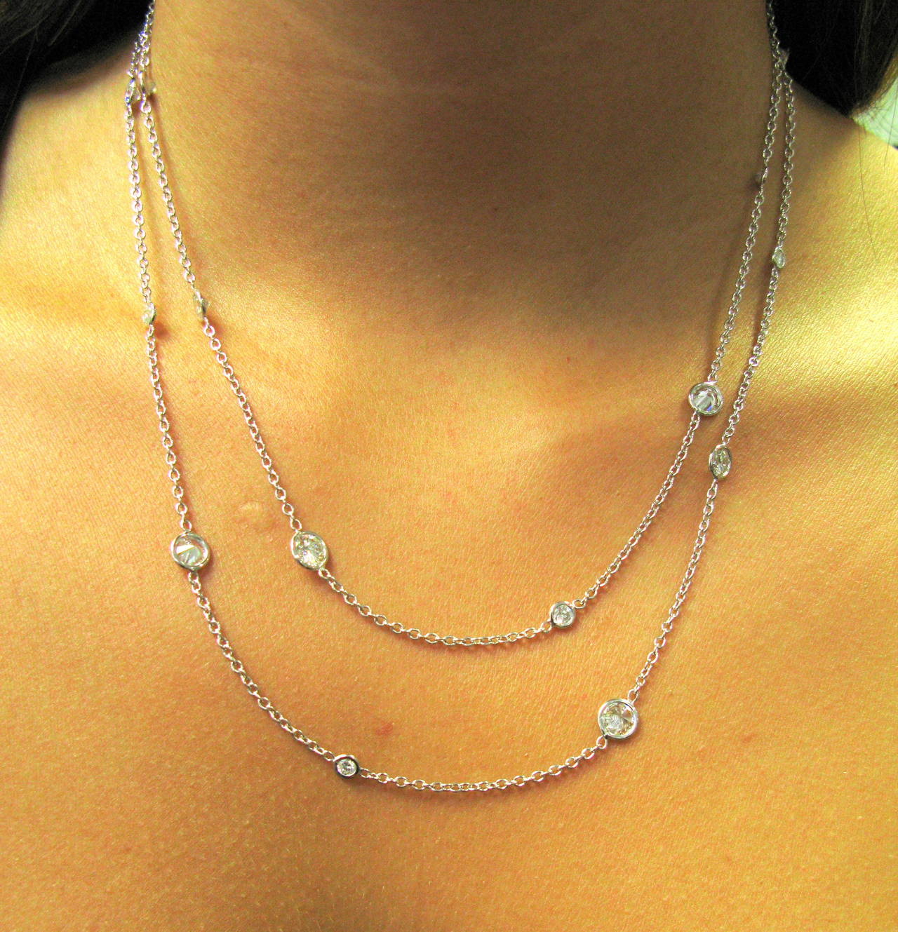 Women's 7.76 Carats Diamonds By The Yard Gold Necklace For Sale