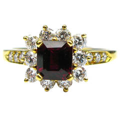Kurt Wayne Ruby Diamond Gold Frame Ring