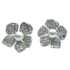 Pearl Diamond Platinum Flower Motif Ear Clips