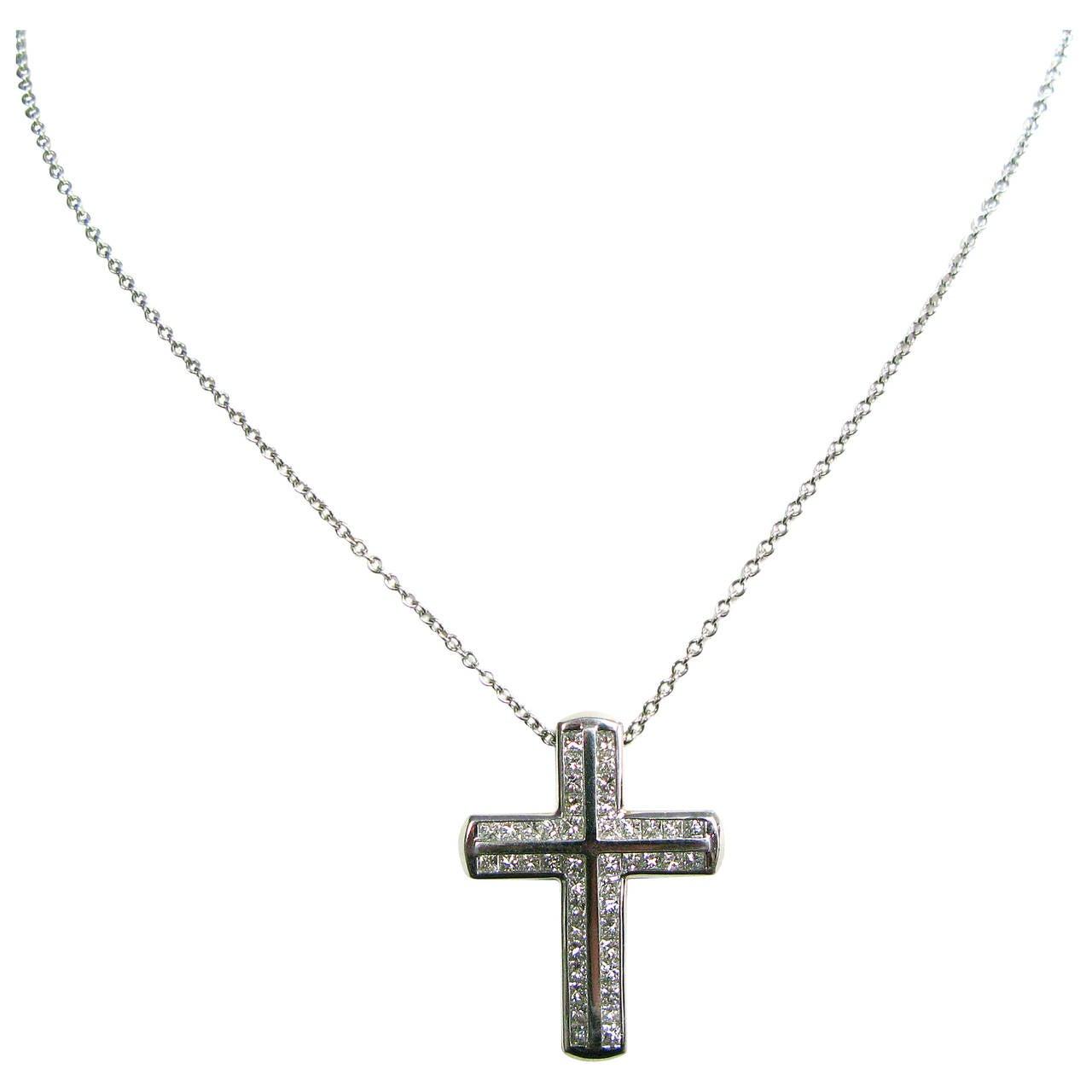 Kurt Wayne Princess Diamond Platinum Cross Pendant For Sale