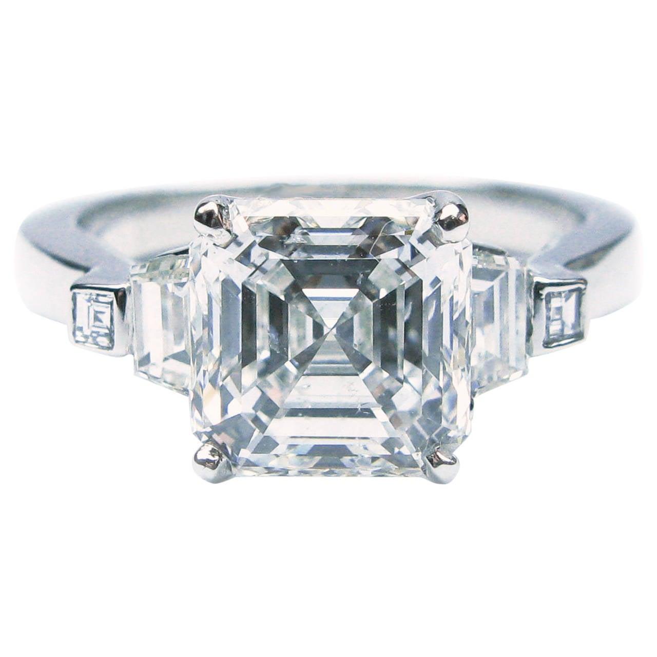 2.52 Carat GIA Cert Asscher Diamond Platinum Engagement Ring