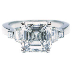2.52 Carat GIA Cert Asscher Diamond Platinum Engagement Ring