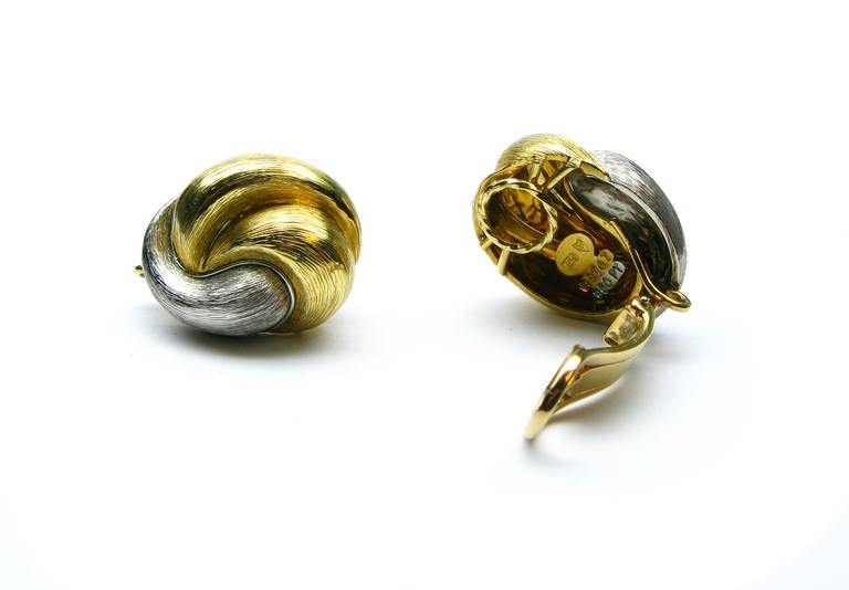 Henry Dunay Yellow Gold Platinum Clip Earrings In Excellent Condition For Sale In New York, NY