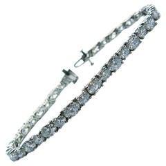 Oval Diamond Platinum Tennis Bracelet