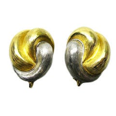 Henry Dunay Yellow Gold Platinum Clip Earrings