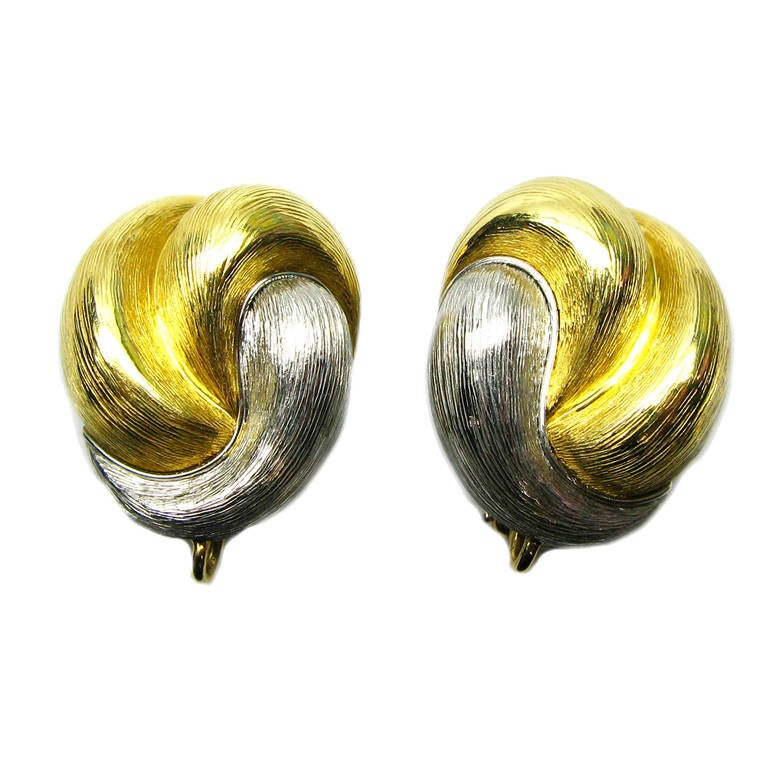 Henry Dunay Yellow Gold Platinum Clip Earrings For Sale