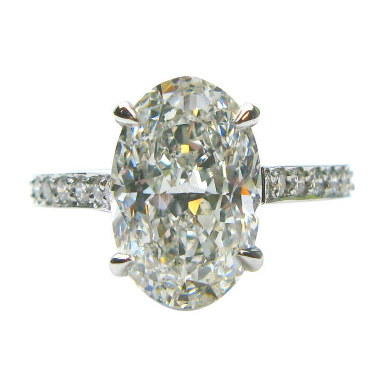 3 01 Carat Oval Diamond Platinum Engagement Ring at 1stdibs