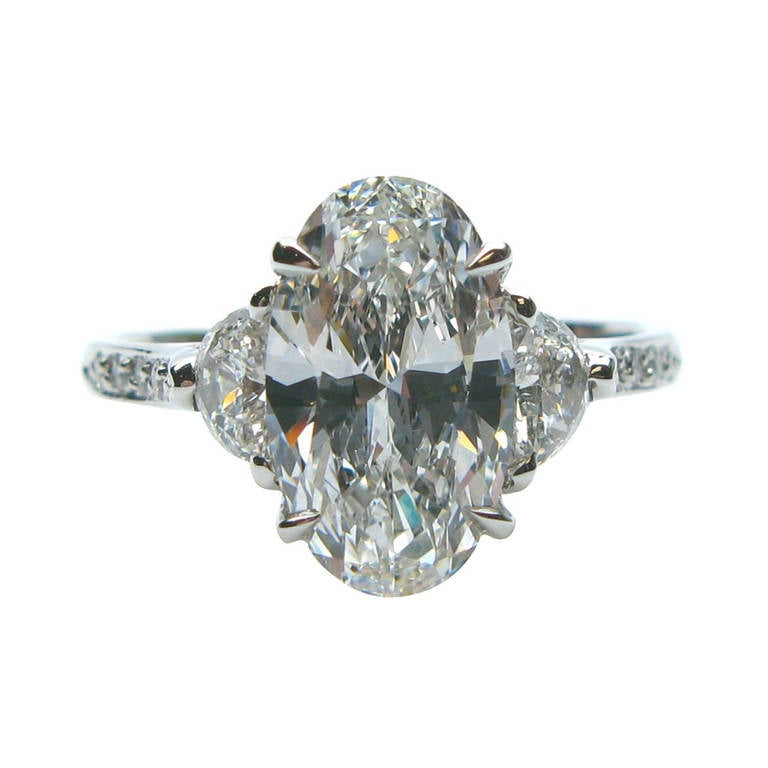2 14 Carat Oval Diamond Platinum Engagement Ring at 1stdibs
