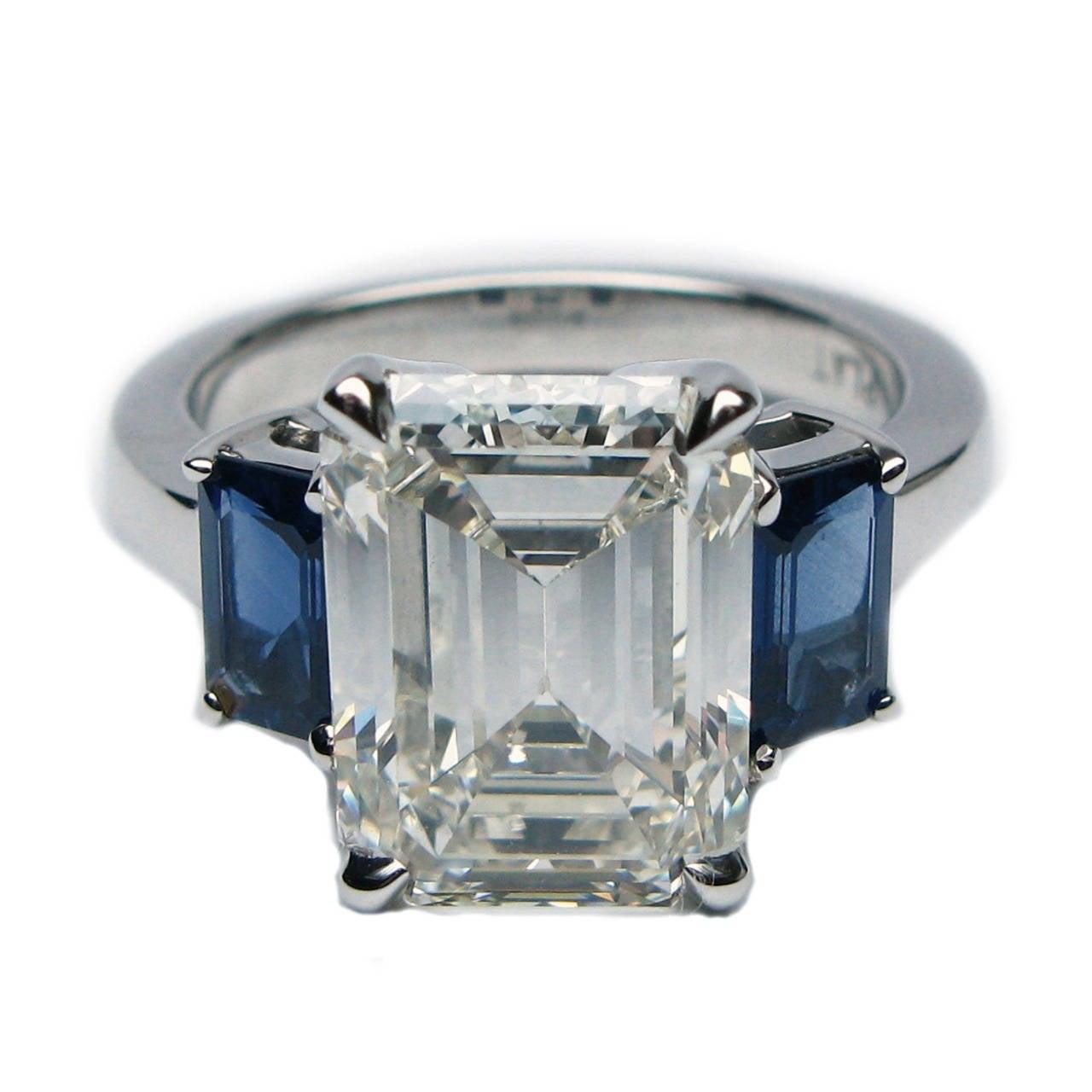 493 Carat Emerald Cut Diamond Blue Sapphire Ring 1